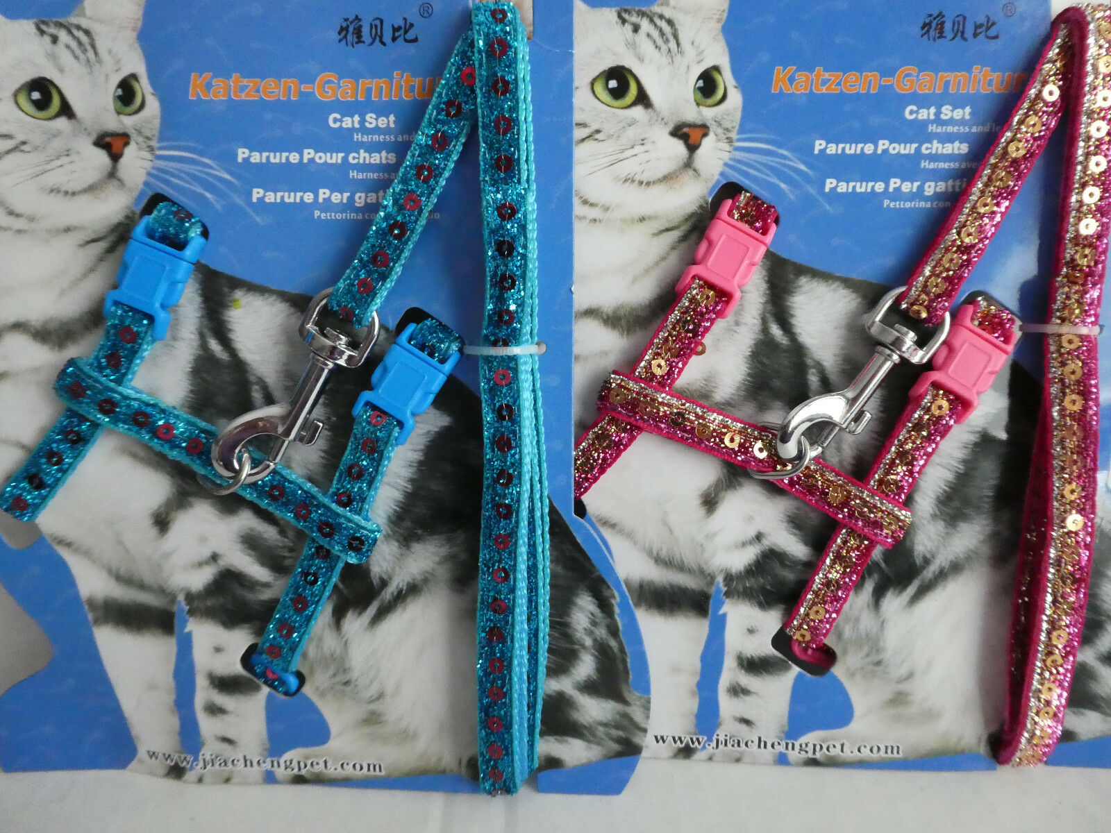 Cat Kitten Adjustable Harness & Lead Set Sparkly Sequined Pink or Blue