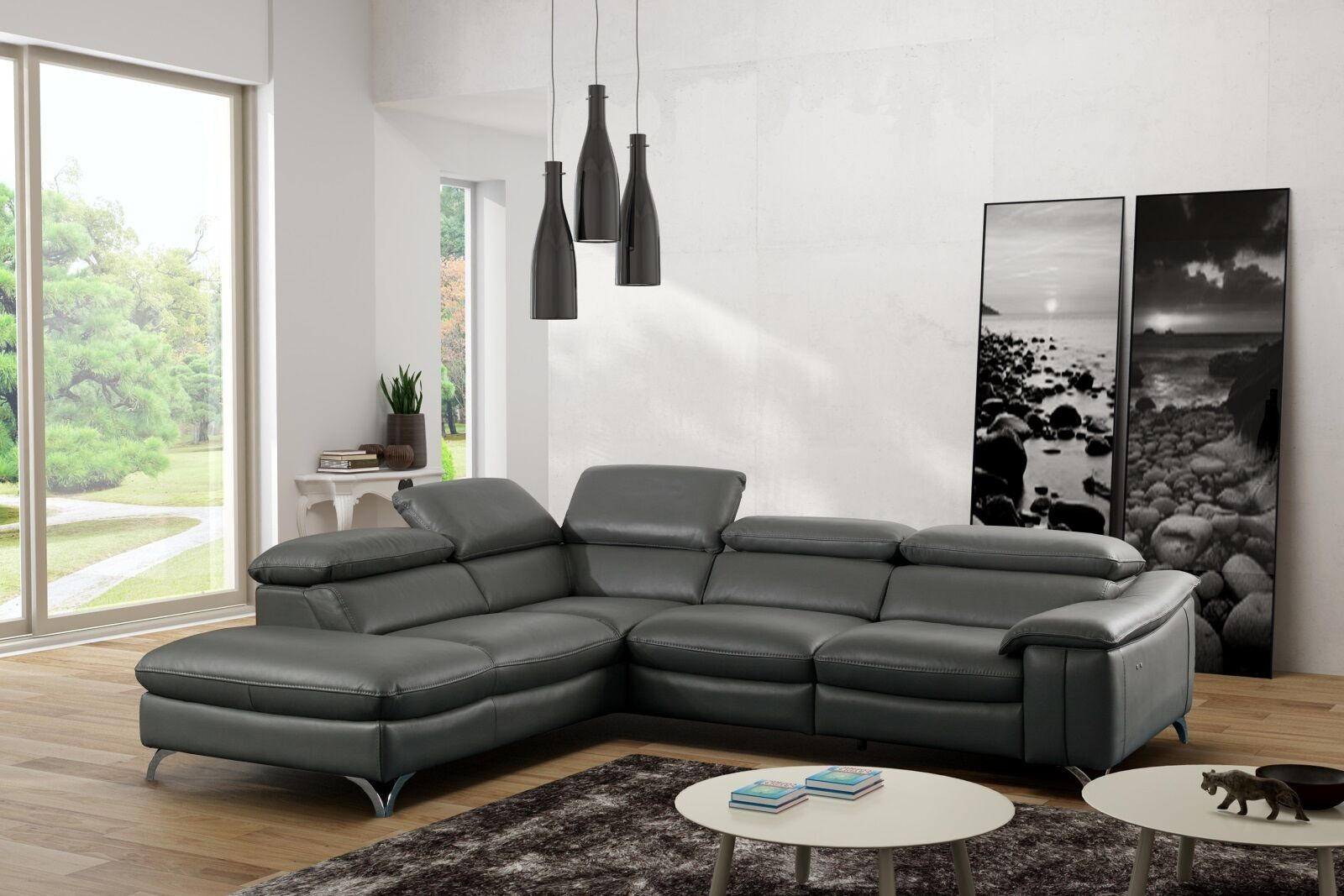 ledersofa marion eckcouch ecke wohnzimmer couch sofa marion leder grau pu eur. Black Bedroom Furniture Sets. Home Design Ideas