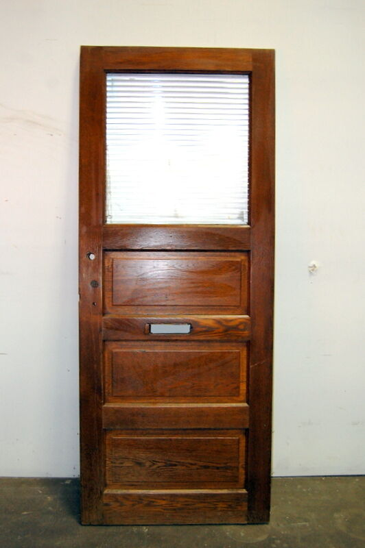 Antique Oak 3 Panel Entry Door W Corrugated Glass Architectural