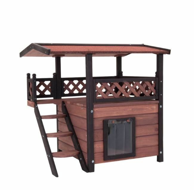 Outdoor Wooden Cat House Garden Play Bed Waterproof Roof & Door Safety Flaps NEW