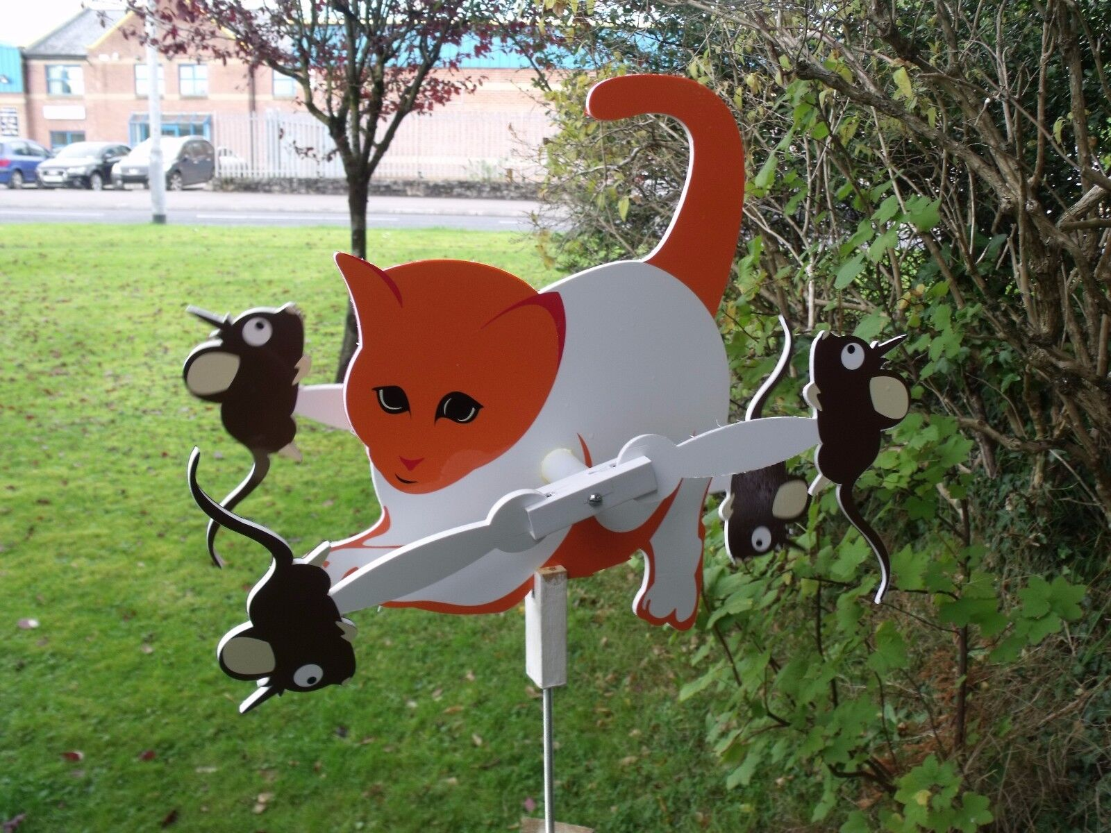 Cat And  Mouse  Garden Wind Spinner  Whirligig Vintage   Style