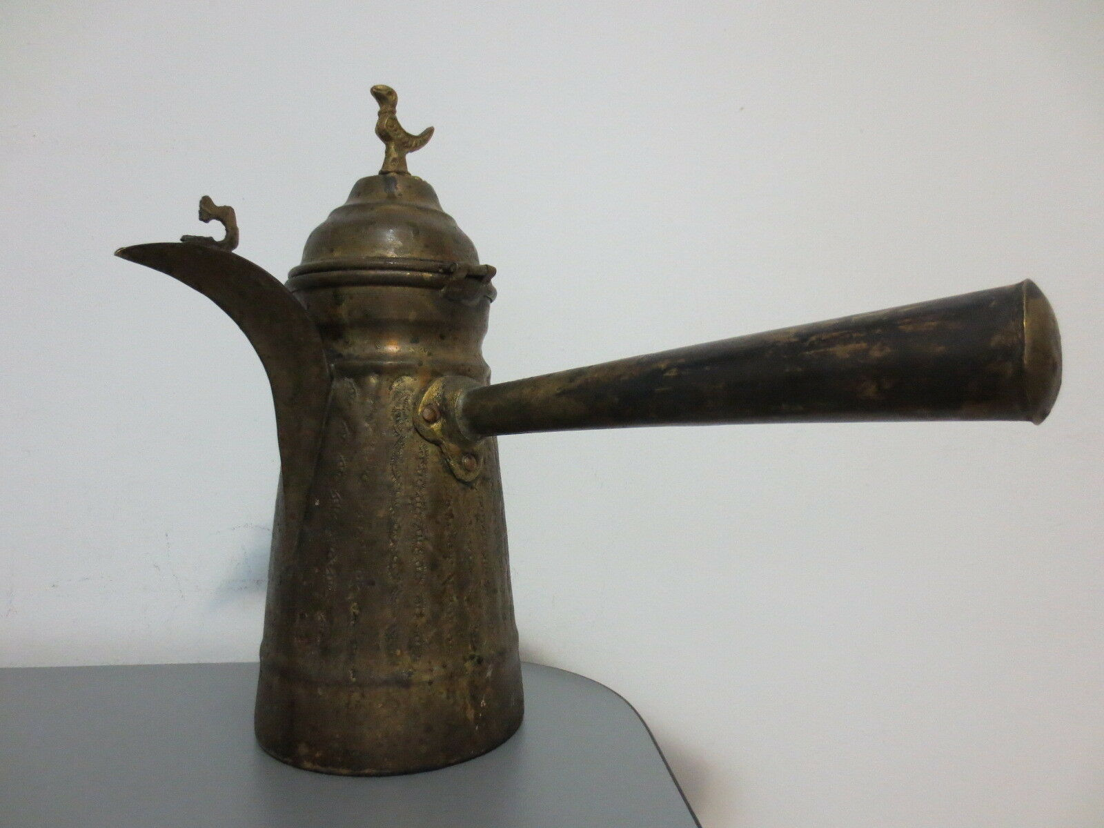 GORGEOUS ANTIQUE 19th Century OTTOMAN Turkish Hand made FORGED CARVED Coffee Pot