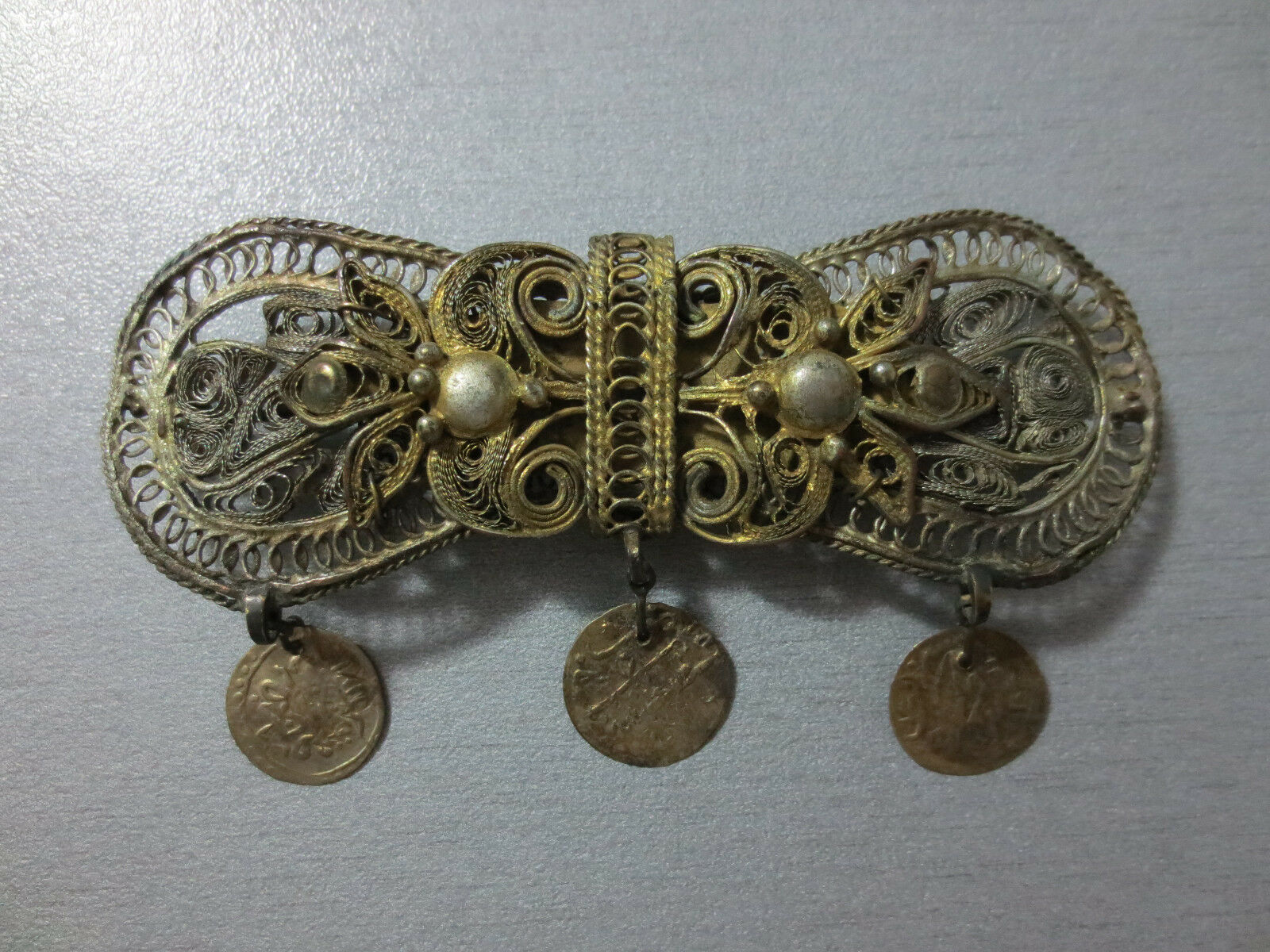 Gorgeous OTTOMAN SILVER FILIGREE + SILVER COINS + GILDED ORNAMENT Pin Brooch