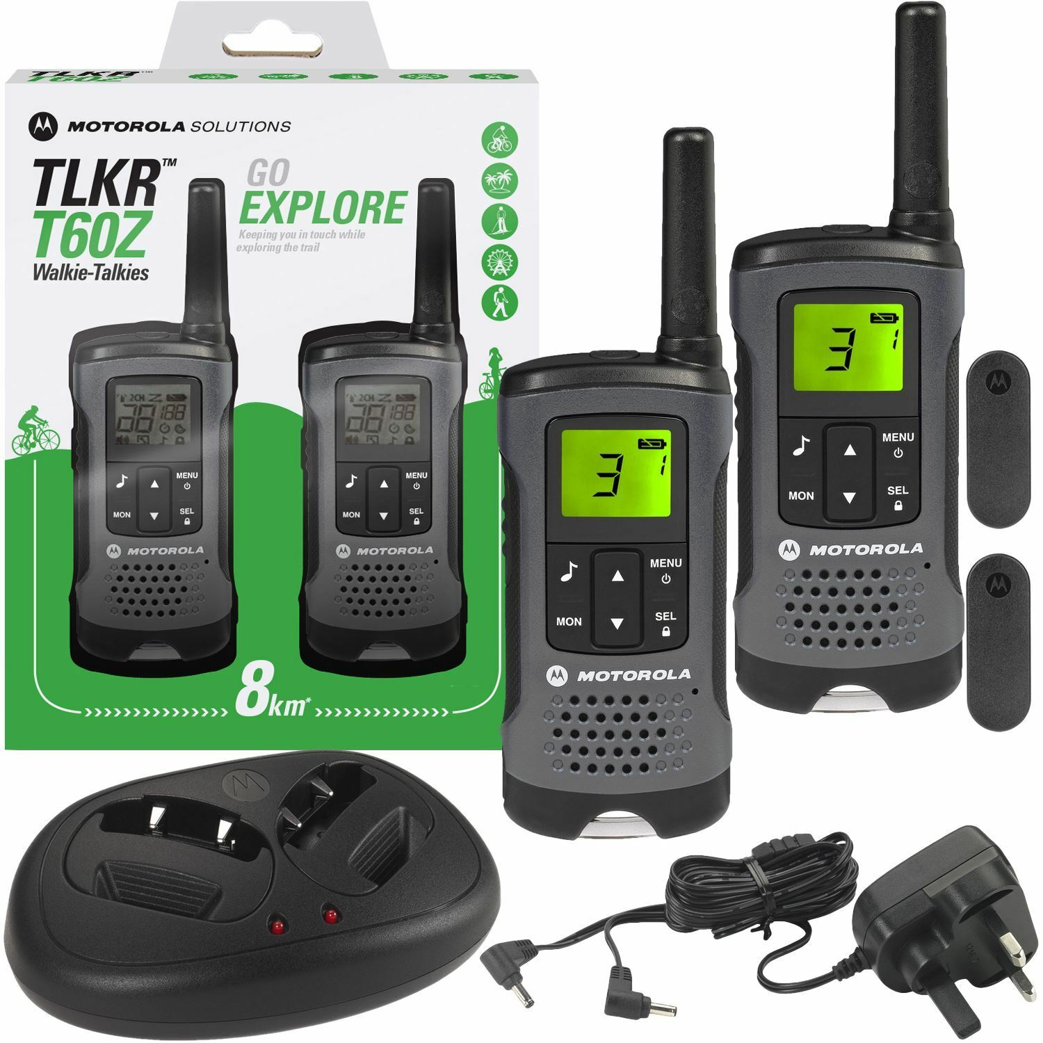 motorola tlkr t60z walkie talkie pmr446 5m radio rechargeable twin pack charger. Black Bedroom Furniture Sets. Home Design Ideas