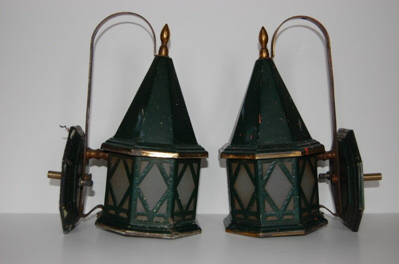 Pair Art Deco Pagoda Sconces Frosted Glass Lanterns