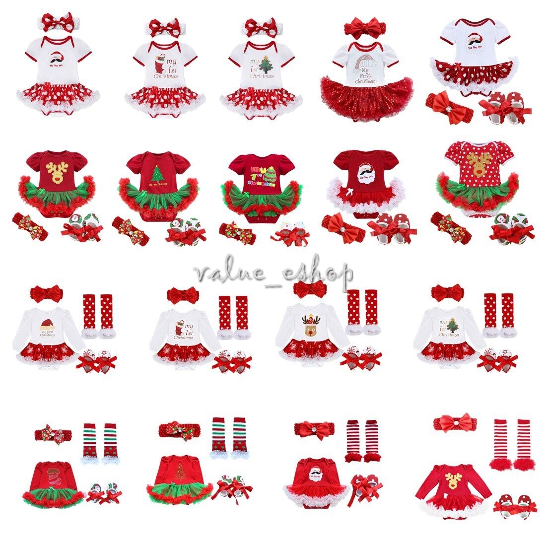 4PCS NEWBORN BABY Infant Girls Christmas Romper Headband Tutu Dress ...