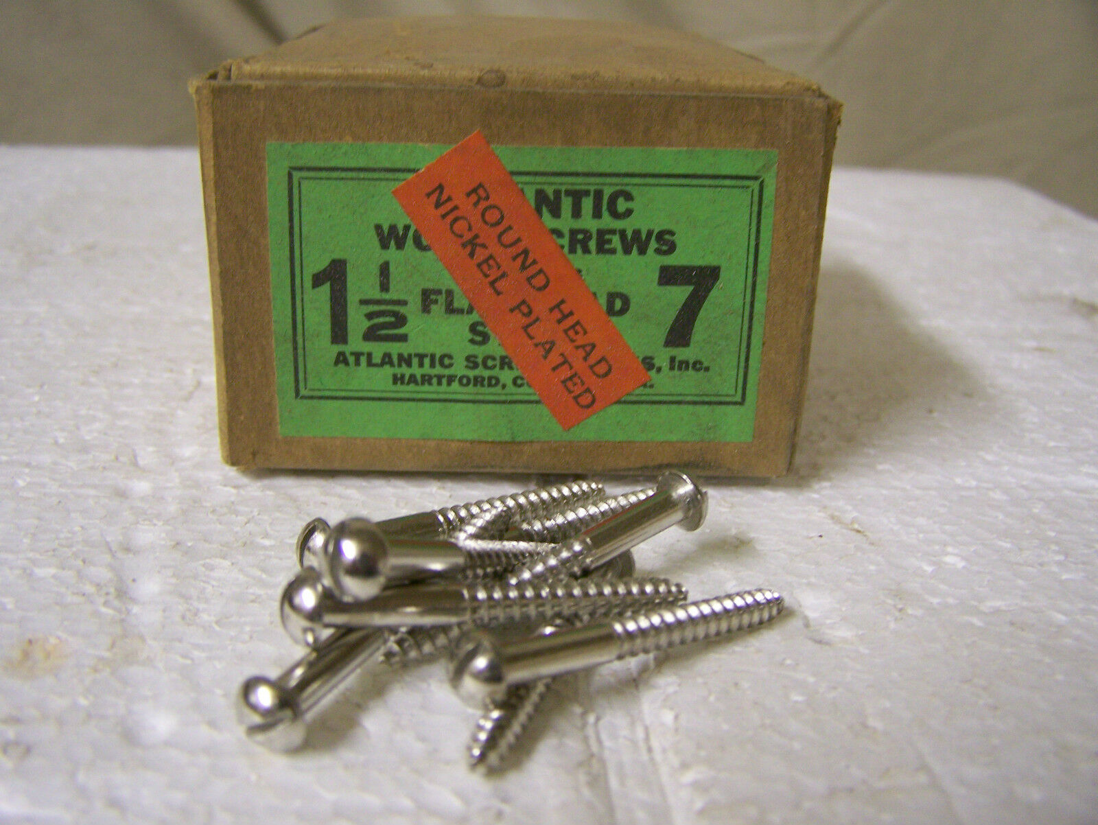 """#7 x 1 1/2"""" Round Head Nickel Plated Steel Screws Slotted Made in USA Qty. 144"""