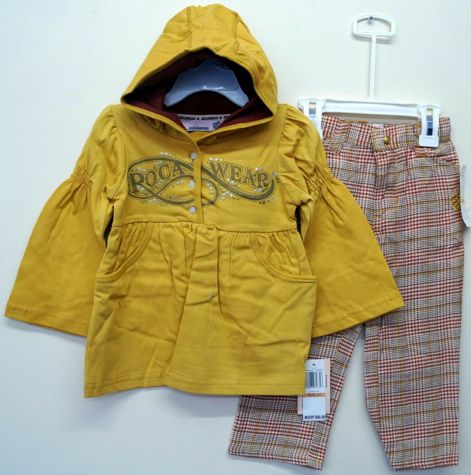 Girls Rocawear Gold Hooded Tunis Jacket Top & Tweed Checkered Trouser Set: 3T 4T