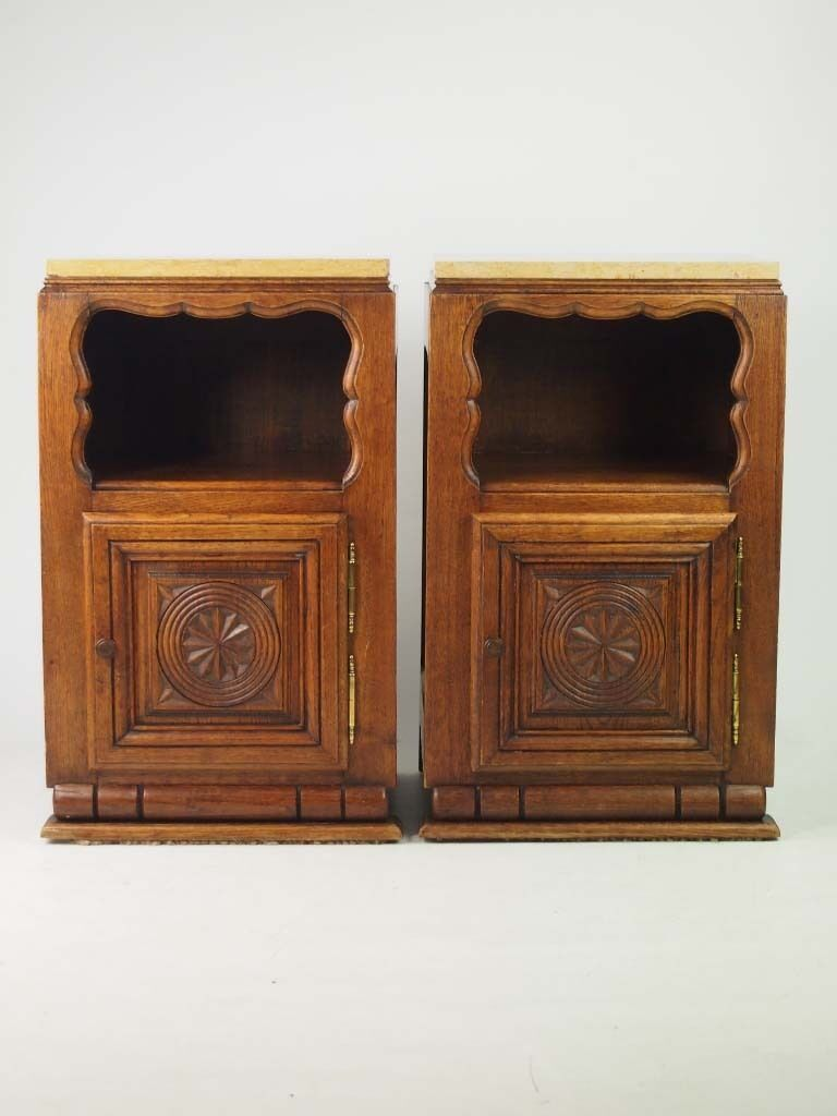 Pair Vintage French Oak Bedside Cabinets - Art Deco Marble Top Tables Cupboards