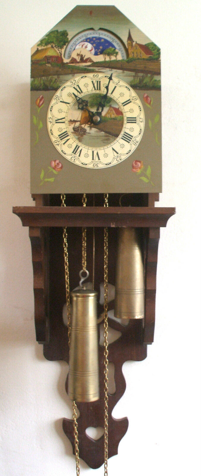 """Painted Metal Face 2 Weights Driven Movement Dutch Wall Cookoo Clock 25""""L"""