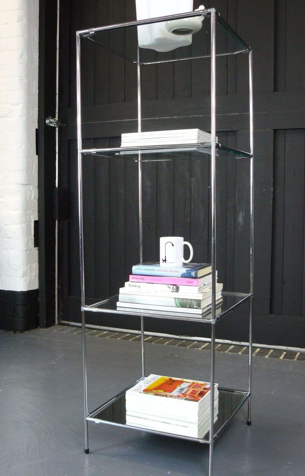Vintage Abstracta Display Cabinet / Stand Glass and Chrome 1960s Mid Century