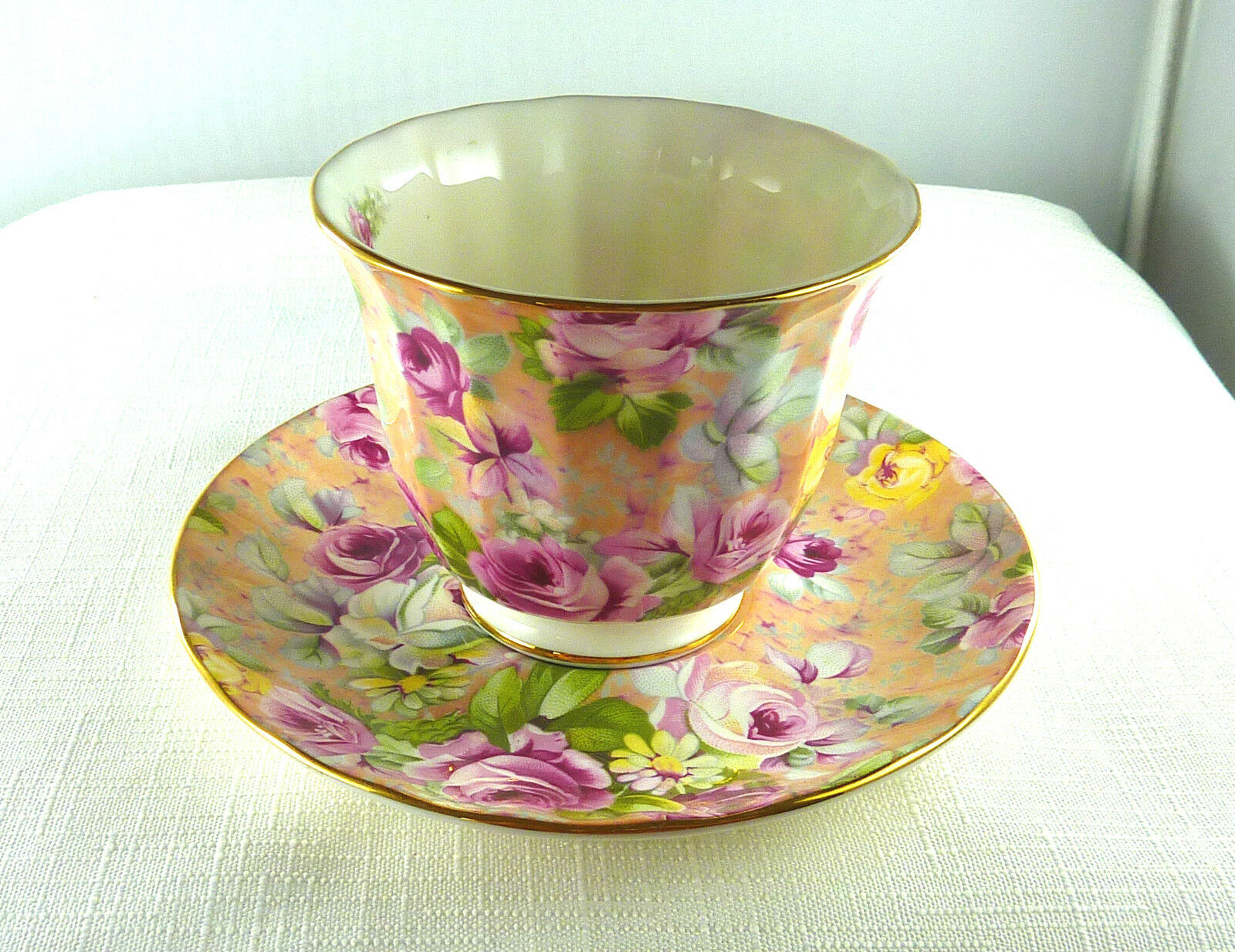 floral chintz camile crown trent limited fine bone china england cup saucer cad. Black Bedroom Furniture Sets. Home Design Ideas