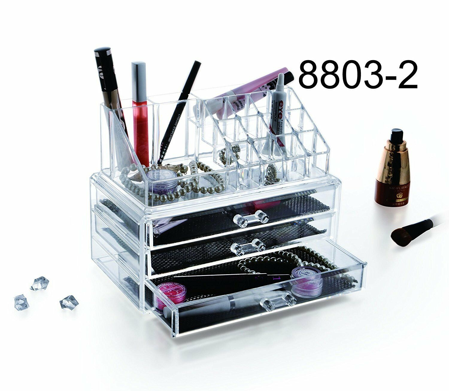3 Storage Clear Acrylic Makeup Box Organiser Cosmetic