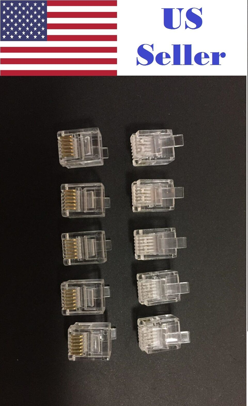 10pcs Amp 6 Wire Modular Phone Line Plugs 6p6c Gold Contacts Rj11 Rj25 Wiring Diagram For Connector 1 Of 2free Shipping