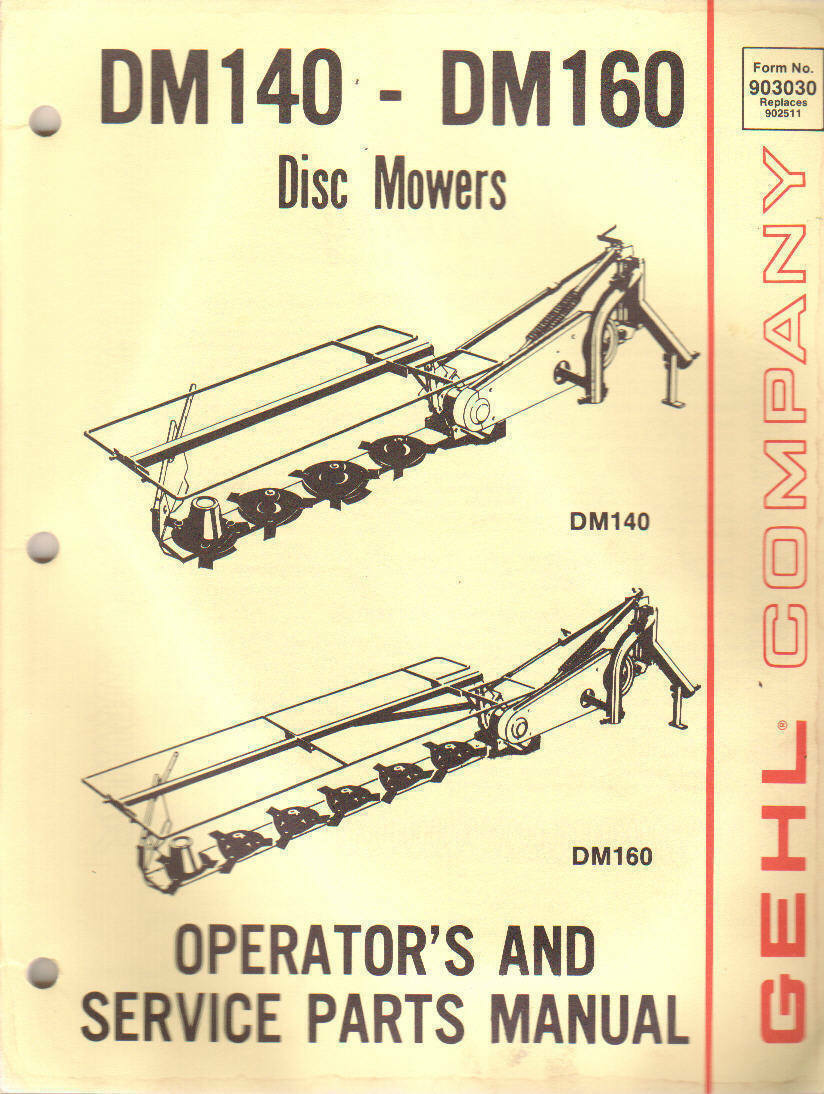Gehl DM140 DM160 Disc Mower Operators Manual 1 of 1Only 3 available ...