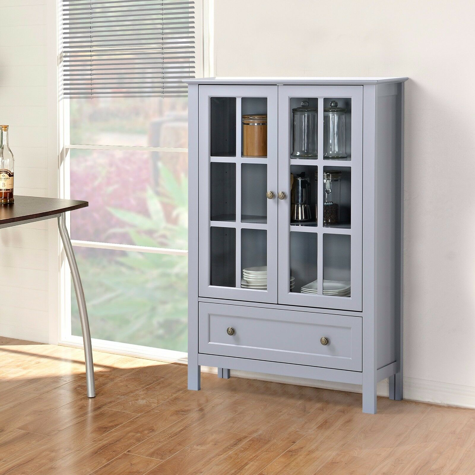 STORAGE CABINET GLASS Doors Curio China Hutch Drawer Kitchen Dining ...