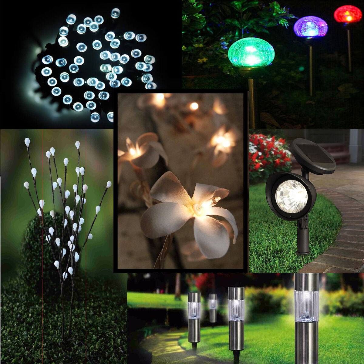 Solar Led String Garden Lights : Solar Garden Flower 50 100 LED Light String Powered Fairy Party Outdoor White EUR 7,82 ...