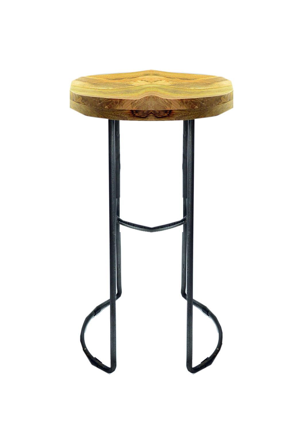 Industrial Kitchen Breakfast Wooden Top Bar Stool With