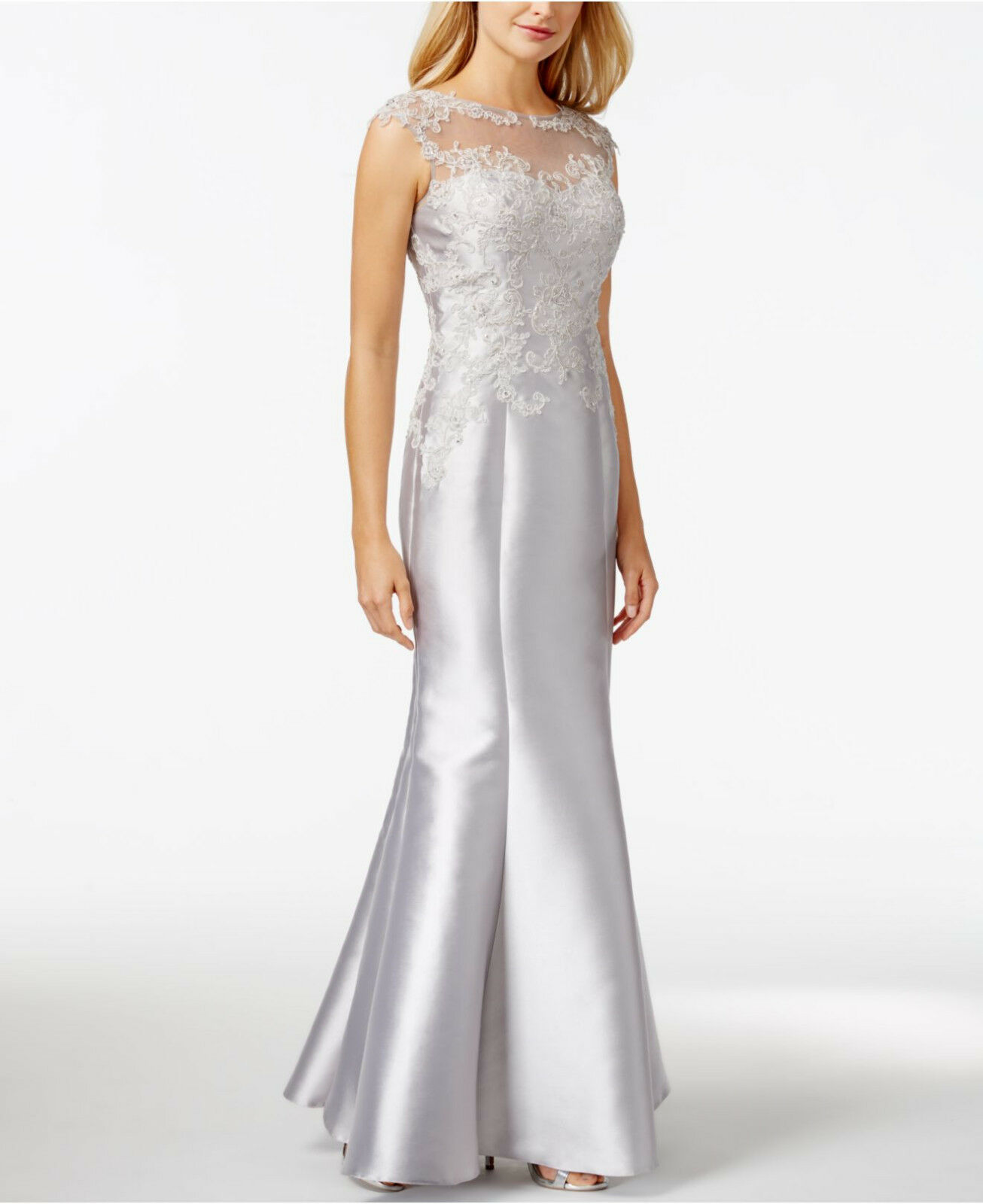 JS COLLECTIONS ~SILVER Embellished Illusion Yoke Trumpet Formal Gown ...