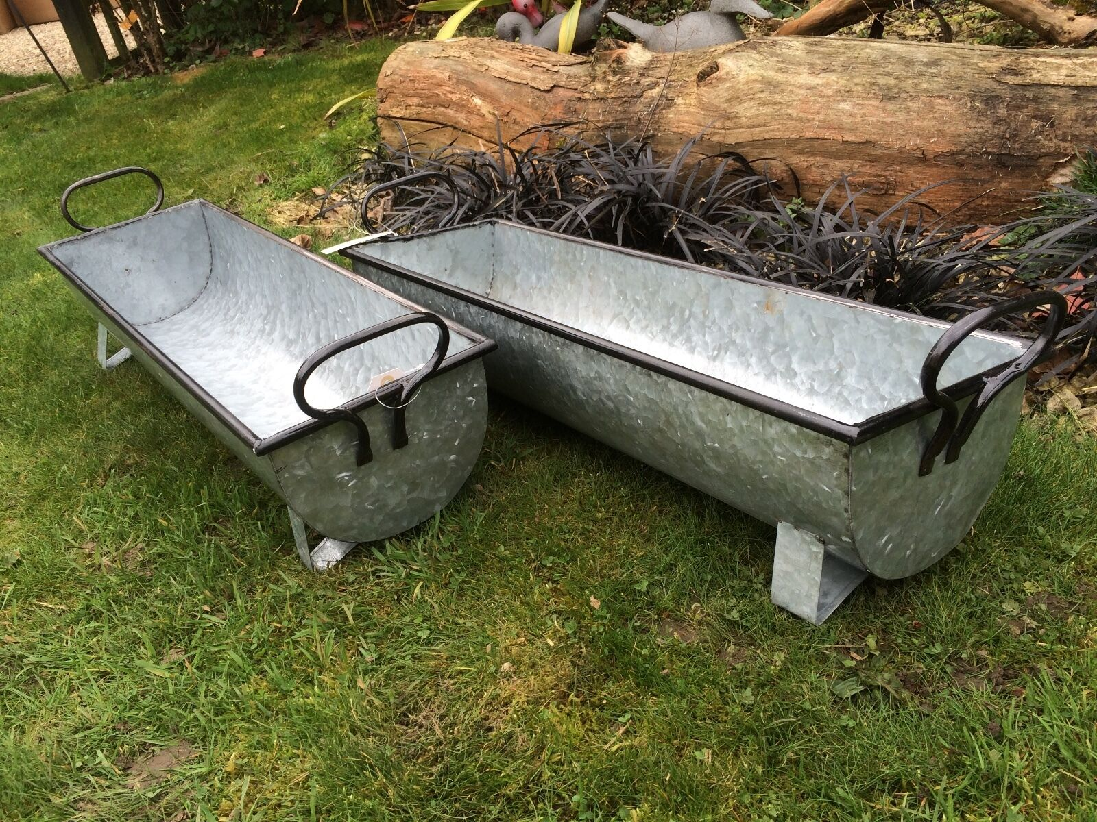 Pair of vintage style grey zinc galvanised metal garden for Large metal tub for gardening