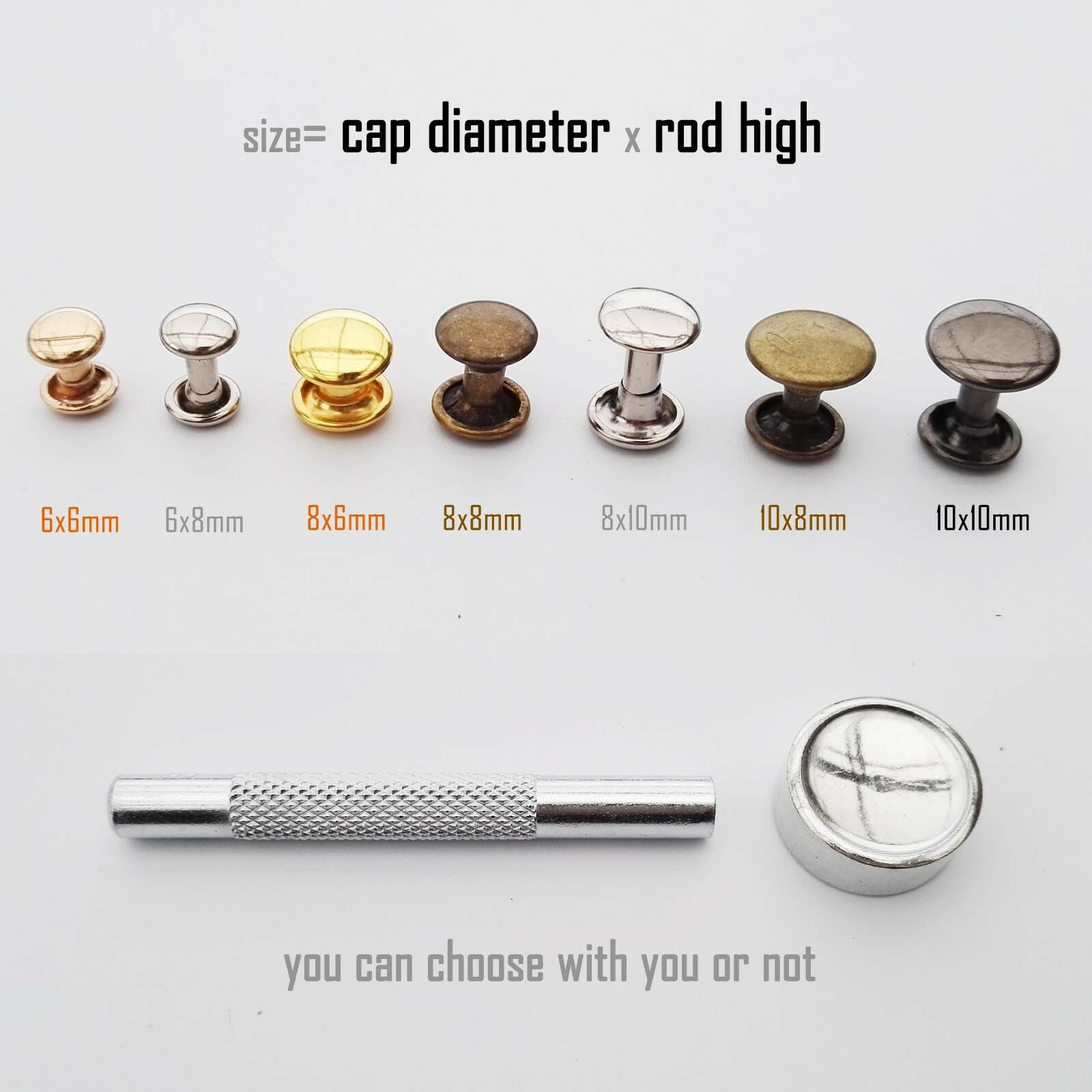 Metal Double Round Cap Tubular Rapid Rivet Spike Stud for Leather Belt Bag Decor 1 of 5FREE Shipping ...