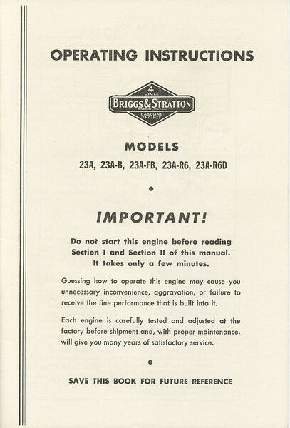 Briggs Stratton Owners Service Parts Manual 23 23a 23ab 23afb