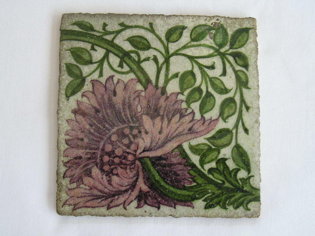 Antique william de morgan style tile arts and crafts for Arts crafts tiles