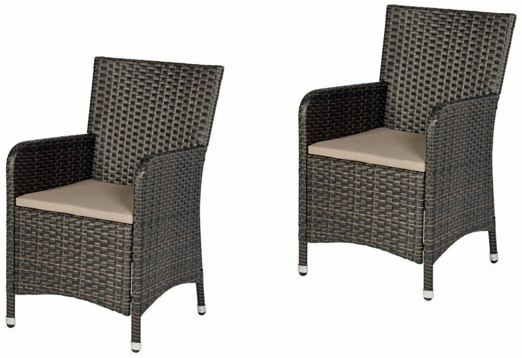 2 st polyrattan stuhl m polster sessel gartenstuhl barcelona braun neuware eur 65 50. Black Bedroom Furniture Sets. Home Design Ideas