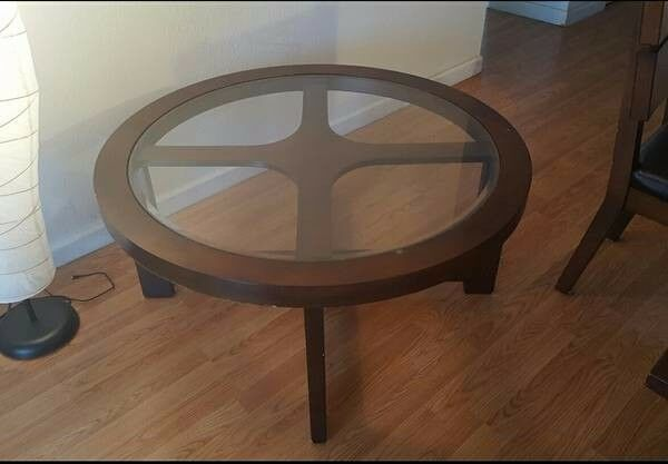 Round Cherry Wood Coffee Table 1 Of 1only Available