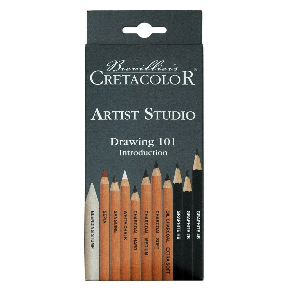 11 Piece Cretacolor Basic Drawing Set NEW Artist Quality Graphite, Charcoal