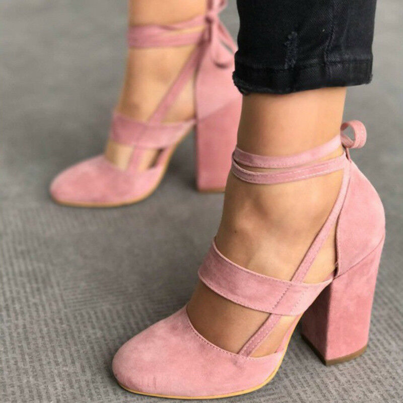WOMEN'S LACE Up Block High Heels Closed Toe Shoes Ankle ...