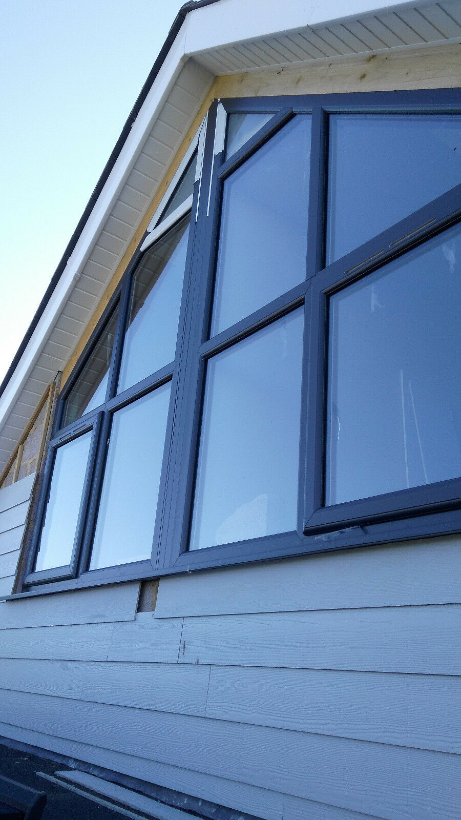 Upvc window anthracite on white a rated for R rating for windows