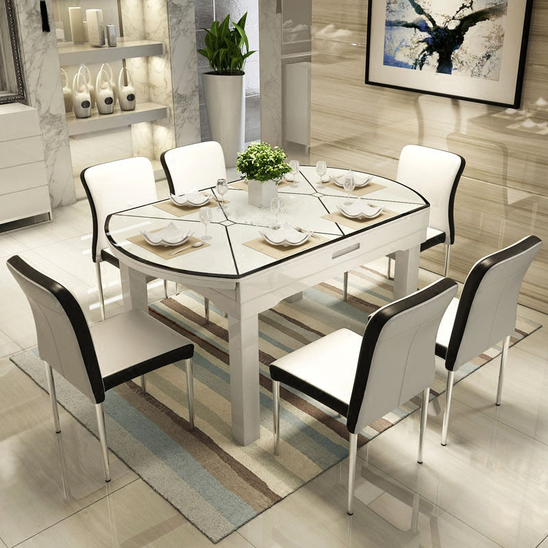 Extendable solid wood tempered glass dining table set and for Tempered glass dining table