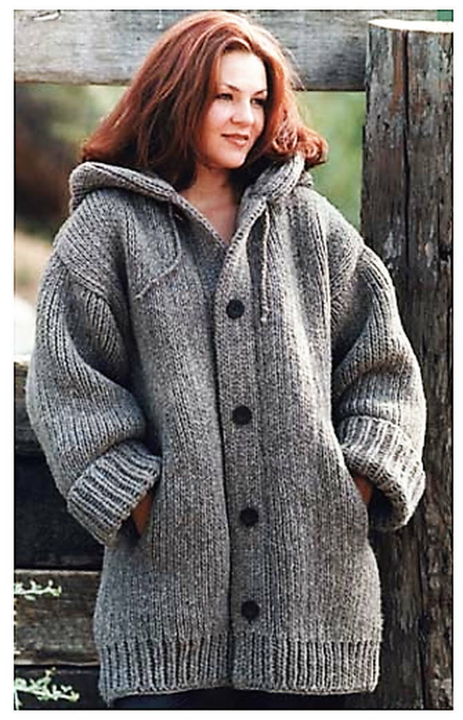 Chunky Hooded Ladies Jacket with Pockets Easy to Knit ...