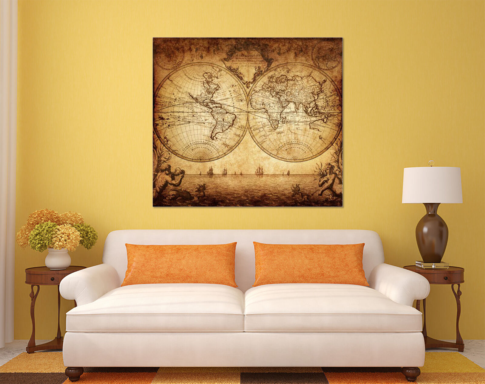 3D EARTH SKEPTURE Map 1 Wall Stickers Vinyl Murals Wall Print Decal ...