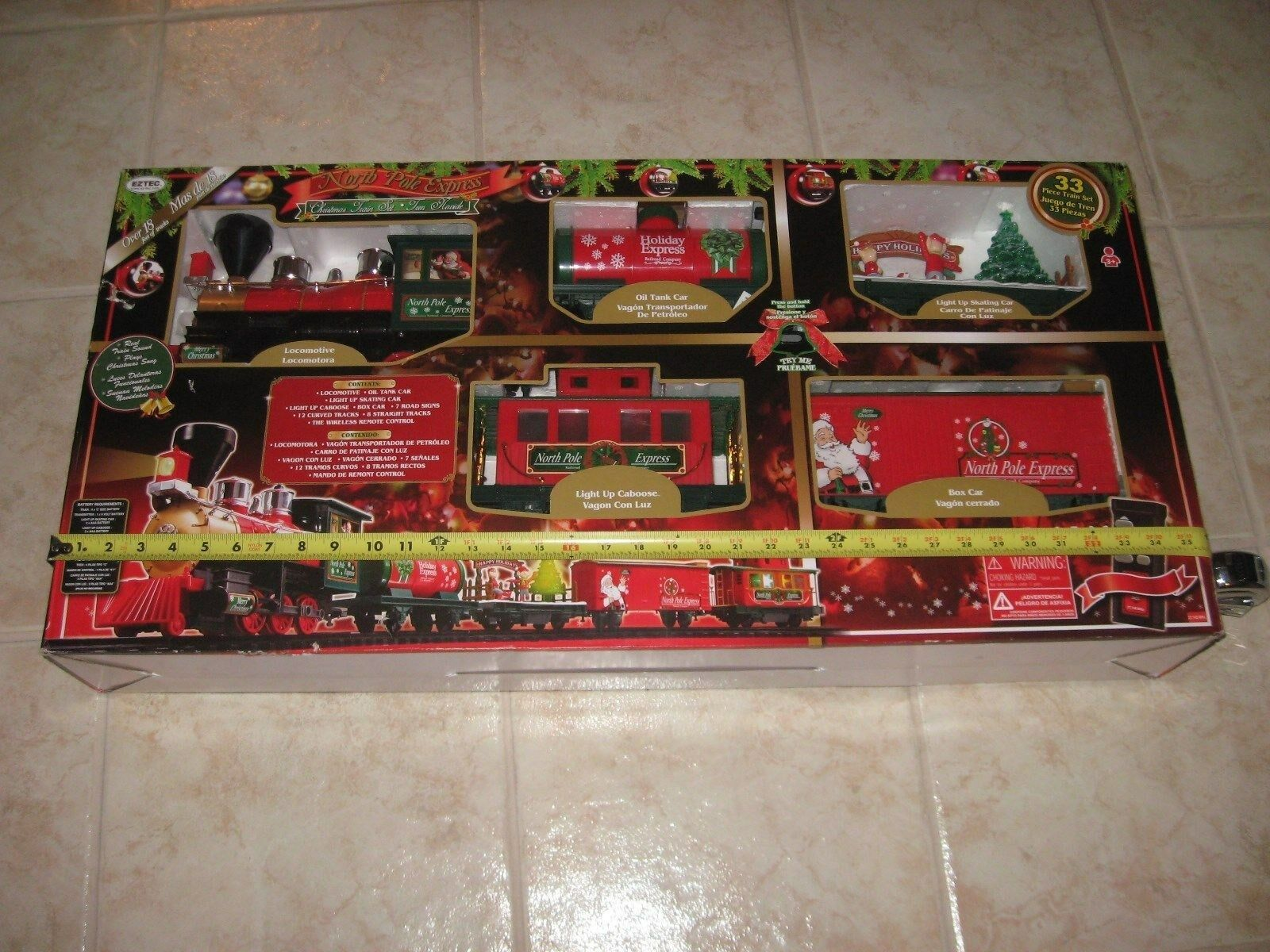 CHRISTMAS TRAIN SET North Pole Express Holiday Battery Operated Tree ...