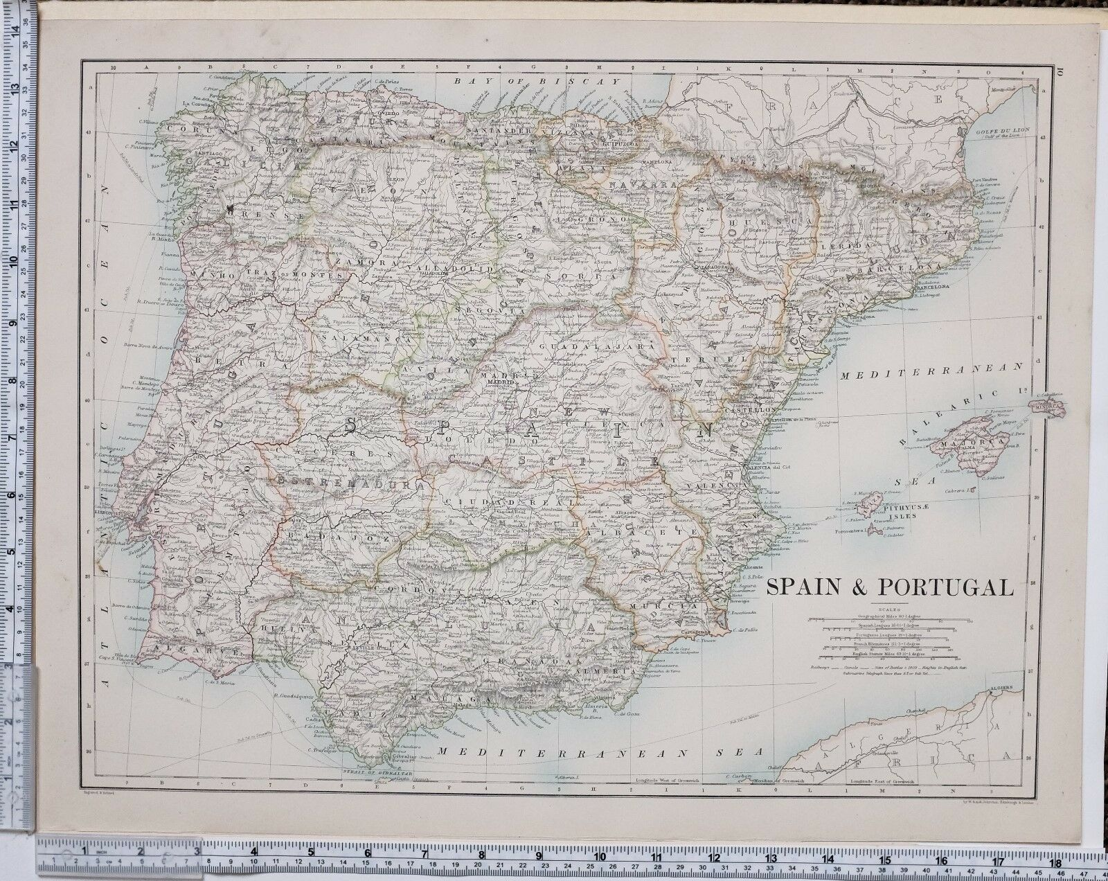 1889 LARGE ANTIQUE Map ~ Spain & Portugal New Castile Galicia ... on