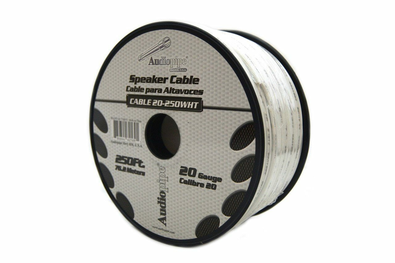 SPEAKER WIRE 20 GA White Stranded Copper Clad 250 Feet Home Audio ...