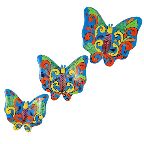 Butterfly Set 3 Pieces Mexican Talavera Ceramic Wall Decor Hanging Lidia 1 Of 4only 5 Available