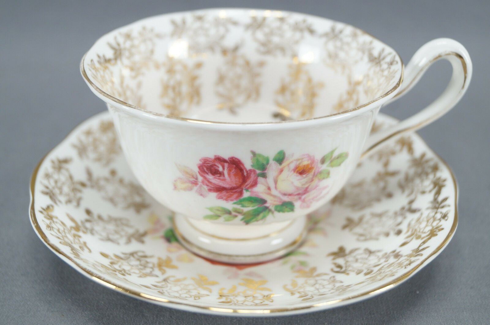 royal albert bone china pink roses gold floral chintz tea cup saucer c 1950 cad. Black Bedroom Furniture Sets. Home Design Ideas