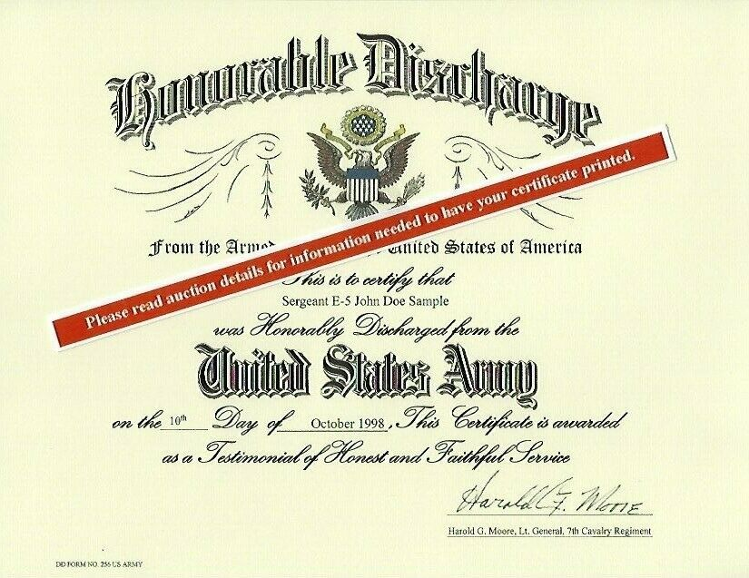 Us Army Honorable Discharge Replacement Certificate 1695