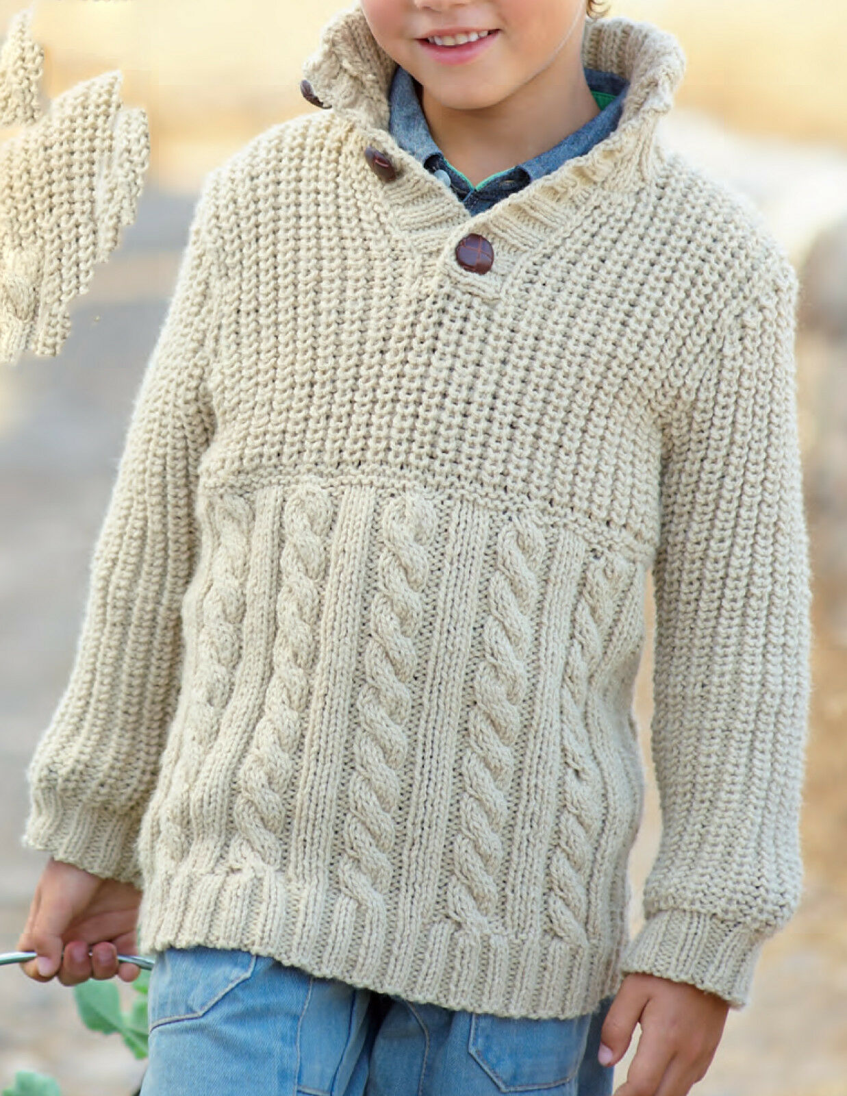 Knitting Styles Patterns : Knitting pattern boys cable sweater in aran