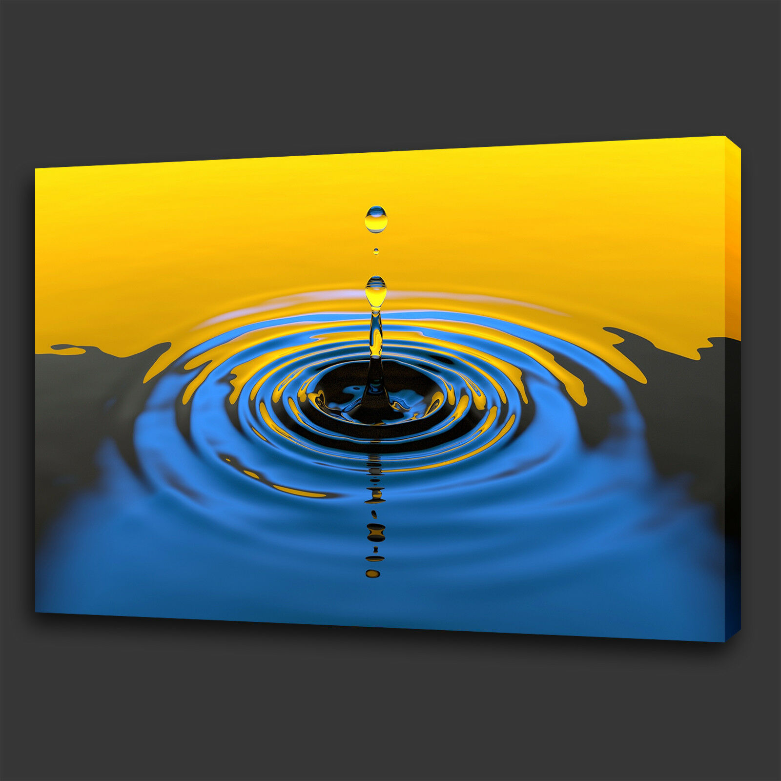 YELLOW BLUE WATER Drop Reflection Box Canvas Print Wall Art Picture ...