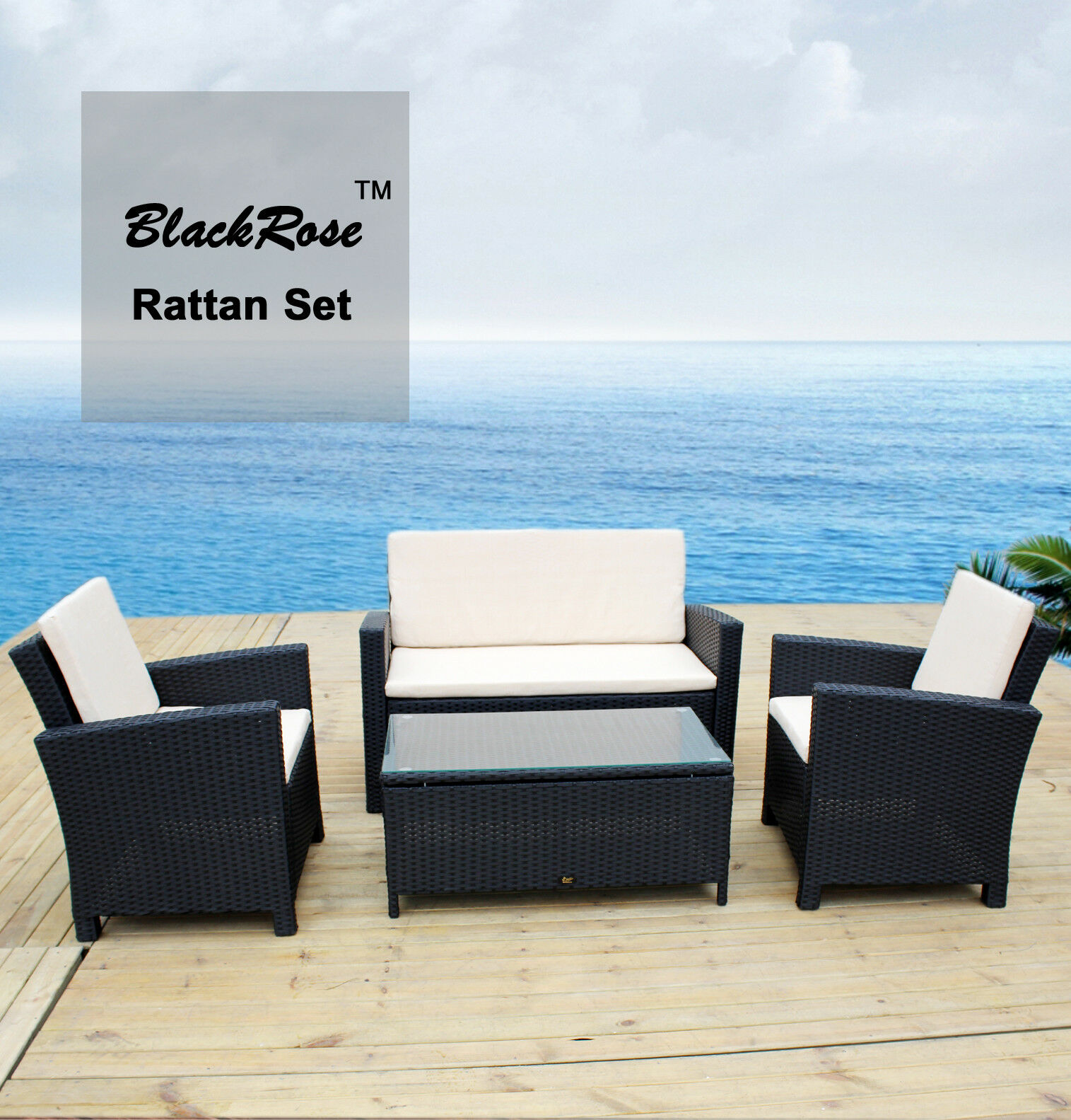 luxury 4pc wicker rattan garden outdoor indoor sofa lounge. Black Bedroom Furniture Sets. Home Design Ideas