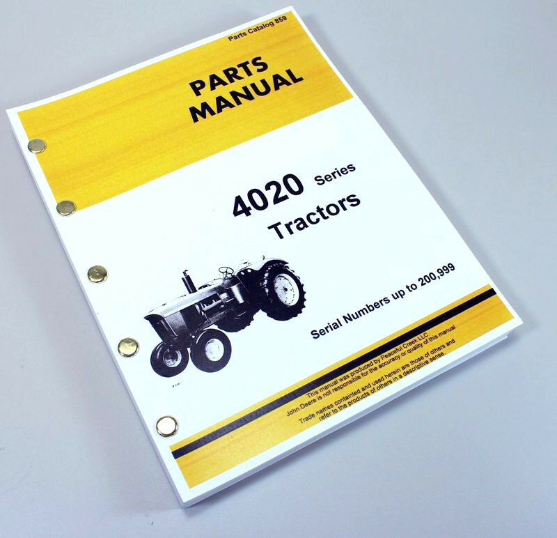 Parts Manual For John Deere 4020 4000 Tractor Catalog Book Sn To
