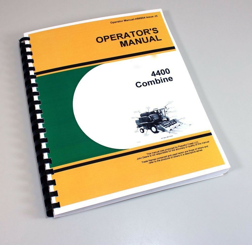 Operators Manual For John Deere 4400 Combine Owners Maintenance Book 1 of  5FREE Shipping ...