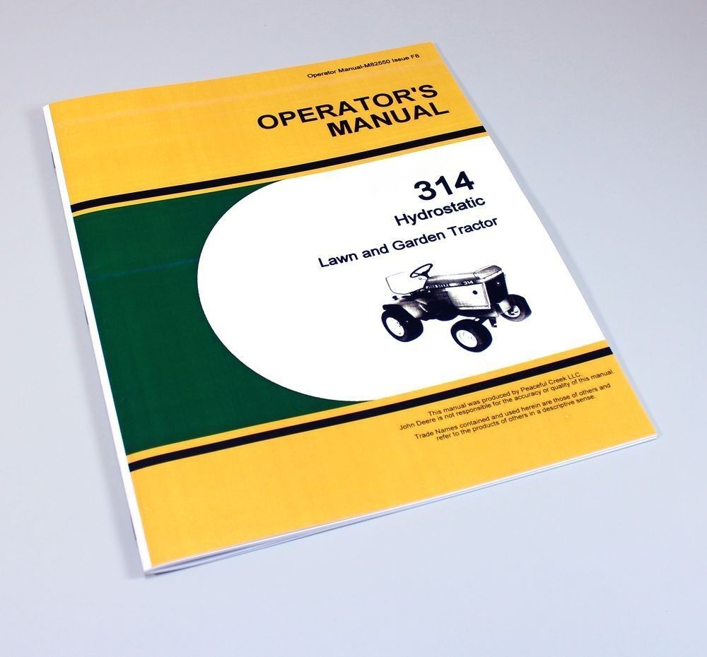 Operators Manual For John Deere 314 Hydrostatic Lawn Garden Tractor Mower  Owners 1 of 6Only 3 available ...