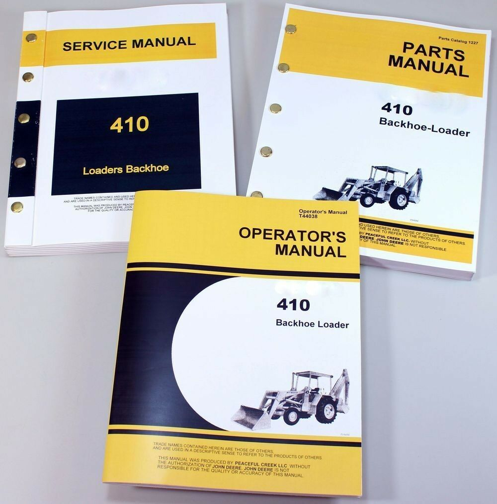 Service Manual Set For John Deere 410 Backhoe Loader Parts Owner Repair  Operator 1 of 12FREE Shipping ...