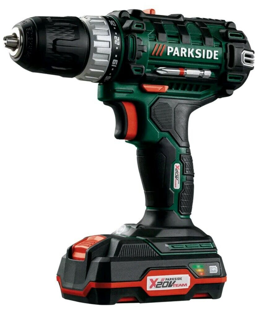 Parkside cordless drill driver with 20v li ion battery for Trapano avvitatore parkside