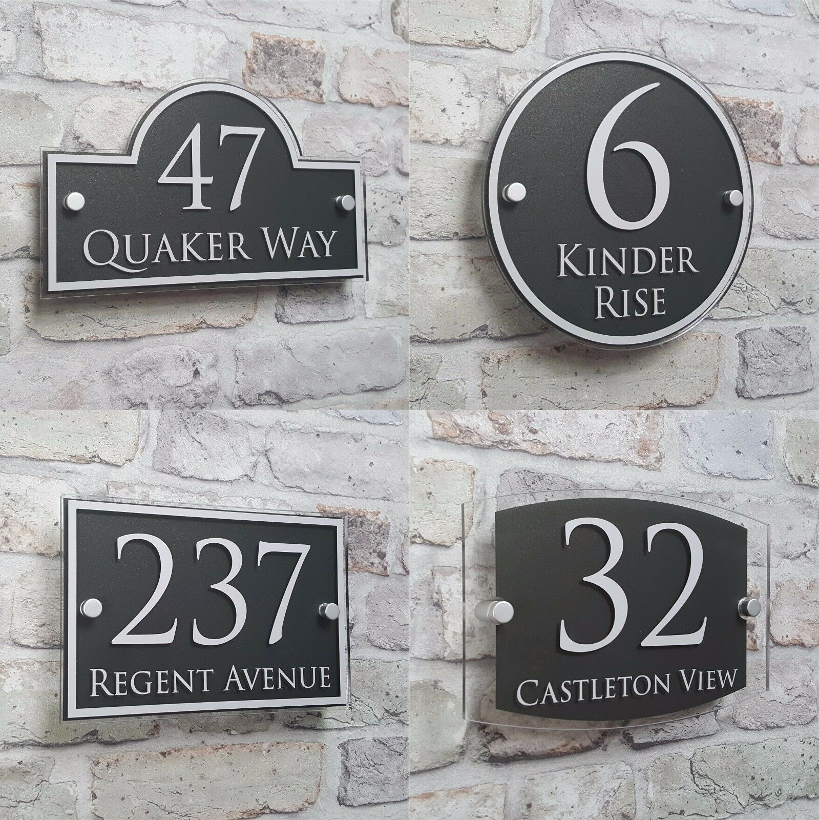 Modern House Address Plaque Door Number Signs Name Plates Glass